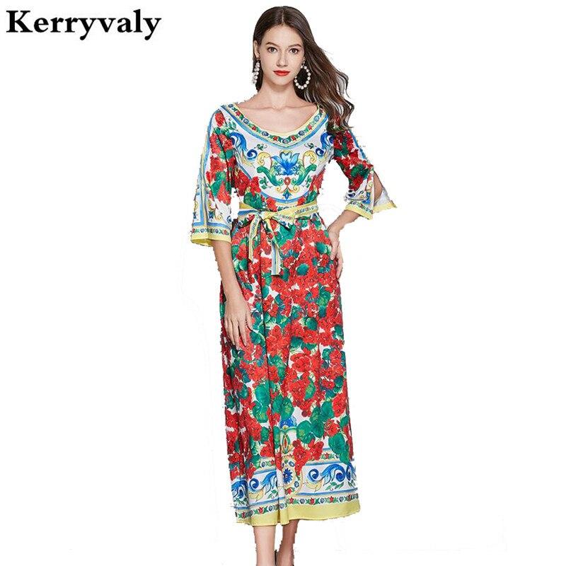 Corte Retro azul y blanco vestido de Verano de porcelana Vestidos Mujer Verano 2020 mujeres Rose Print Vintage vestido Pull K248