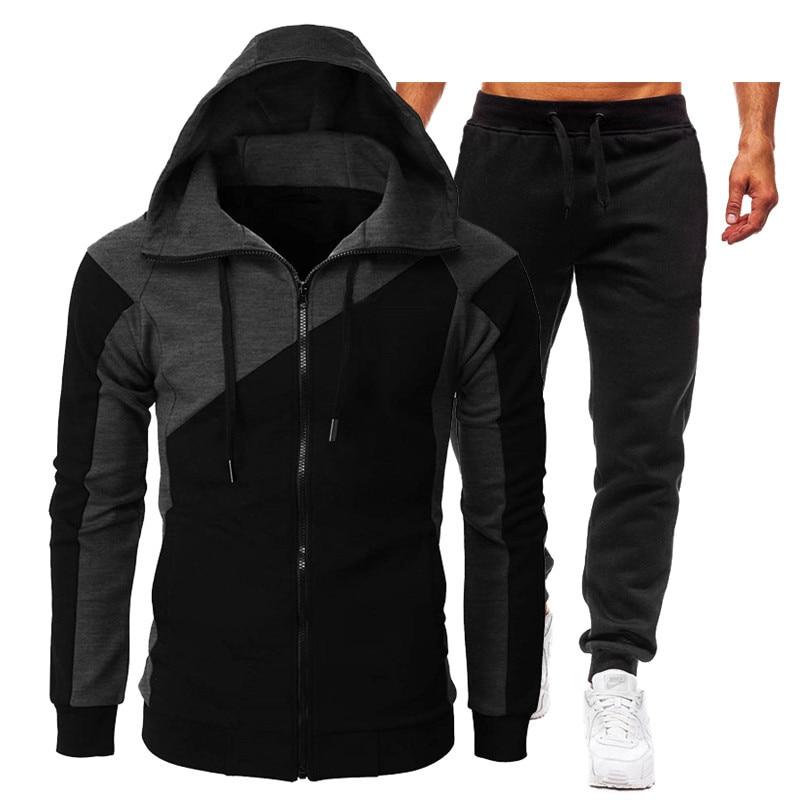 جديد الخريف الشتاء الرجال ملابس رياضية عصرية رياضية 2 قطعة مجموعات الرجال الملابس هوديس السراويل مجموعات الذكور الهيب هوب معطف جاكيتات