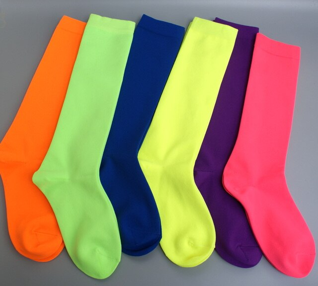 New hot sale women Neon colors Knee high socks bright colorful girls long Sock Fluorescence Orange Pink hip hop Dancing