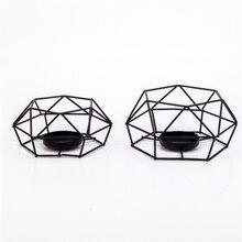 Creative noir métal bougeoir décoration de la maison salon artisanat géométrique en fer forgé chandelier ornement décor de mariage