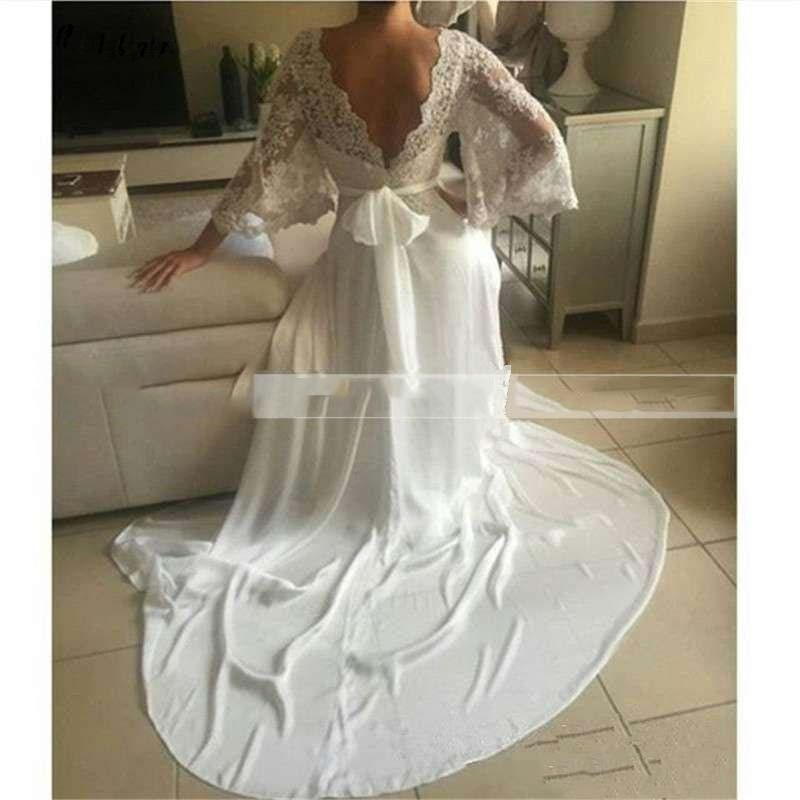 New Simple lace Wedding Dress 2021 Long Sleeves A Line Bride handmade Flowers Vintage dubai custom Arabric Formal Wedding Gowns