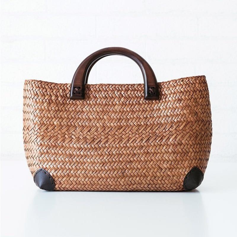 Bolso de paja hecho a mano, bolso de playa tejido de paja de ratán retro, bolso tejido de Arte simple