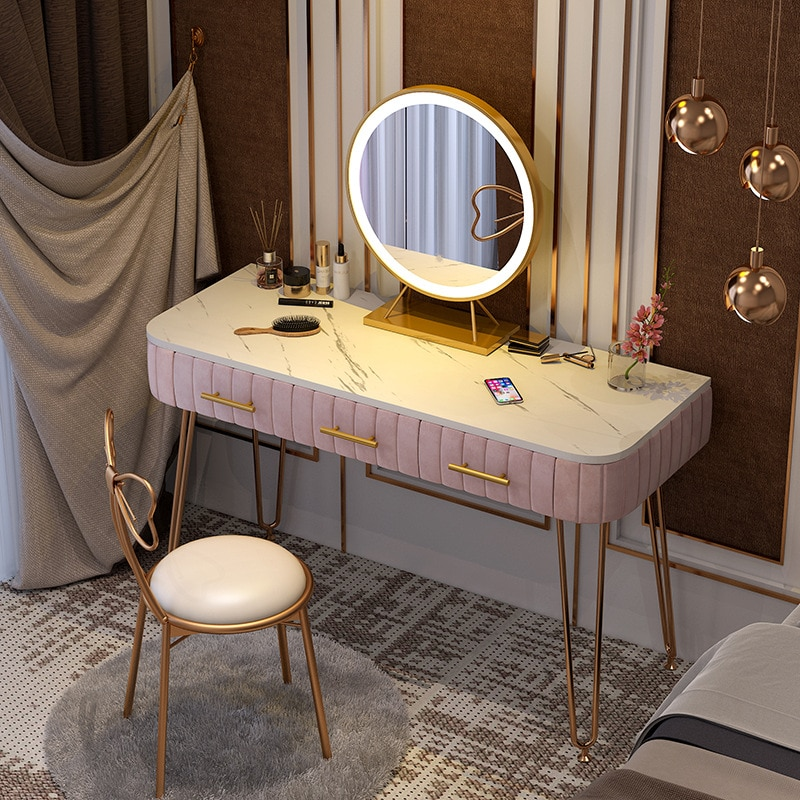 flash furniture 24 x 42 rectangular black laminate table top with 22 x 30 table height base Ins Style Dressing Table Furniture With LED Lamp Mirror Marble Table Top Multicolor Dressing Table Bedroom Modern Dressing Table