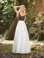 dainty a line satin prom party dress with sequins wholesale