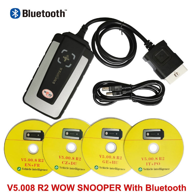 For WOW SN00PER V5.008 R2 Software Automotive Diagnostic tool For Cars and Trucks with Bluetooth obd2 OBDII scanner Code Reader
