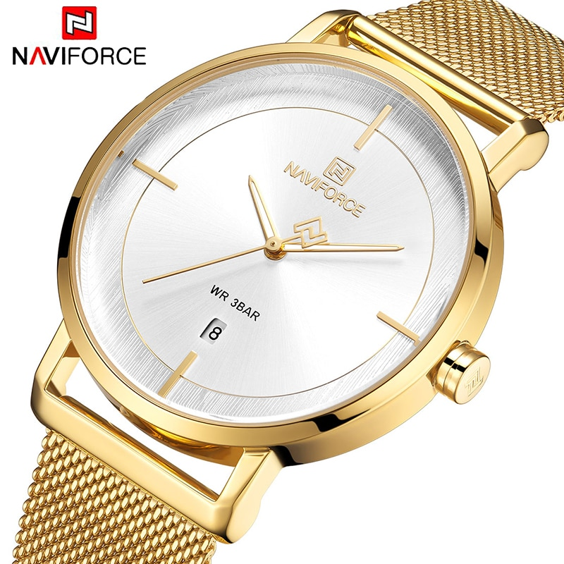 NAVIFORCE 2019 New Stainless Steel Bracelet Watch For Women Classic Minimalist Alloy Analog Ladies Quartz Wrist Watches Relogio enlarge