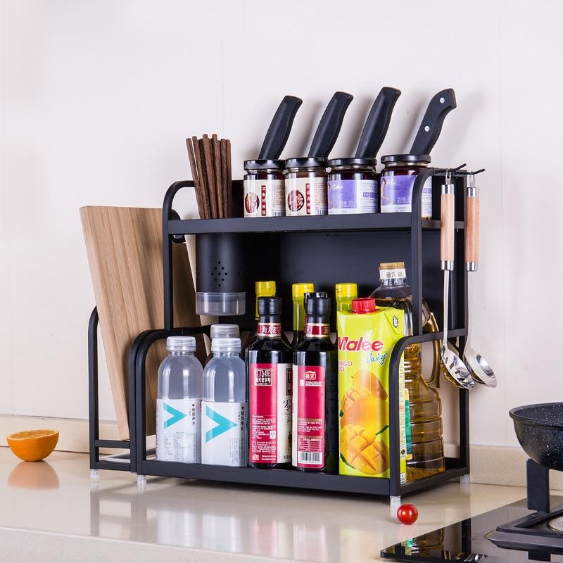 Home black stainless steel kitchen rack,double wall floor seasoning rack,kitchen storage tool,Stainless steel metal shelf