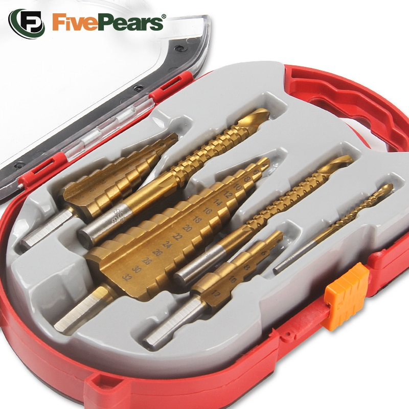 FivePears Step Drill Bit And Drill Bit-Milling Cutter 6Pcs/Set.Countersink For Metal/Wood,Drill For Metal Cone 32MM,Stage Light