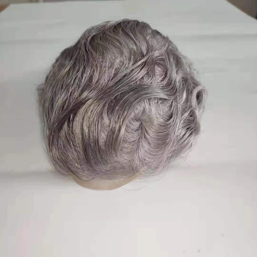 Mens Toupee Hairpiece Human Hair Systems #1B80 Poly+Mono Lace Base Prosthesis Male Wig For Hair Loss