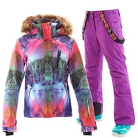 gsou snow women ski suit snowboard clothing trouser skiing jacket pant windproof waterproof outdoor sport wear winter fur hooded