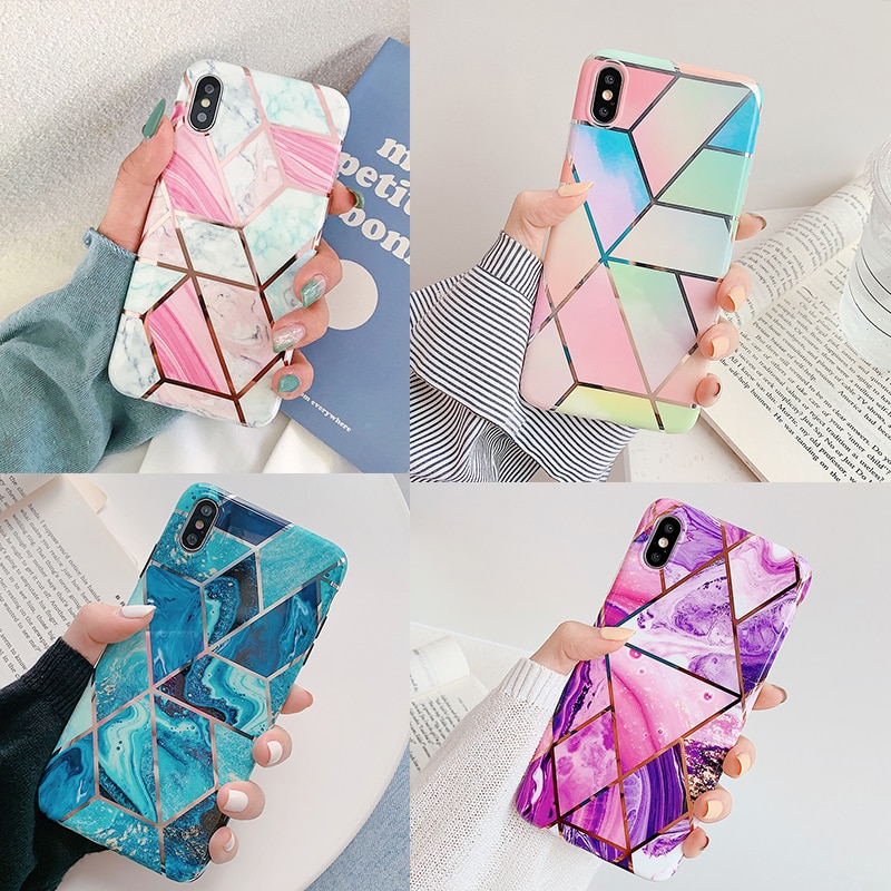 Funda de teléfono de fantasía de suyacks para iPhone 11 Pro Max 7 8 Plus X XR XS Max 6 6S electrochapada geométrica suave contraportada