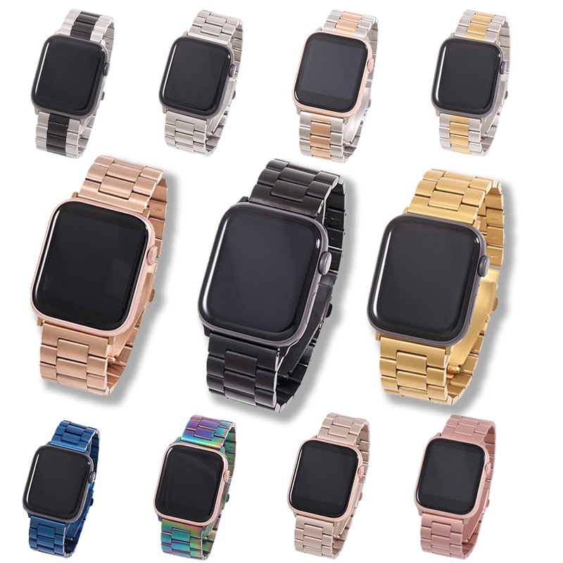 metal strap for apple watch band 44mm 42mm 40mm 38mm stainless steel bracelet for for iwatch 6 se 5 4 3 2 1 series accessories Band For Apple Watch Strap 44mm 38mm 40mm 42mm Metal Stainless Steel Bracelet Strap For Iwatch Series 6 SE 5 4 3 2 1 Accessories