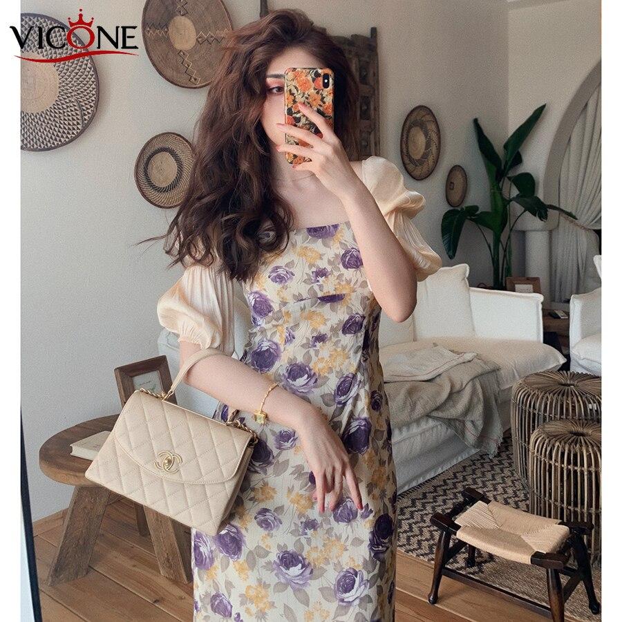 Vestido de dibujo púrpura elegante de momento perfecto de diseño VICONE