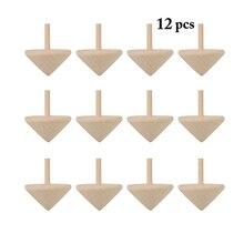 12 pièces/ensemble toupie en bois jouets traditionnel bois Spin Up jouet enfant loisirs main dessin Spinne