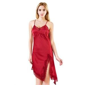 Long Satin Slip Dress Silk Feminine Nightdress Lace Suspender Skirt With Chest Pad Evening Dress Satin Slip Split Fork Dress