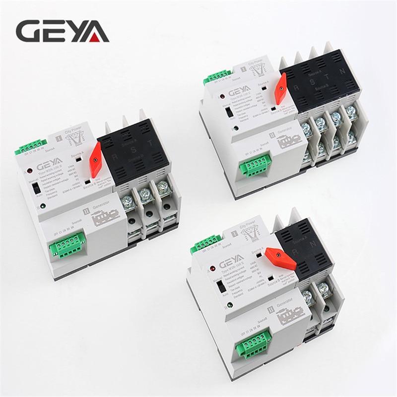 Envío Gratis GEYA, carril Din, 110V 220V PC Interruptor de Transferencia Automática 63A 100A hogar interruptor de transferencia de 50/60Hz