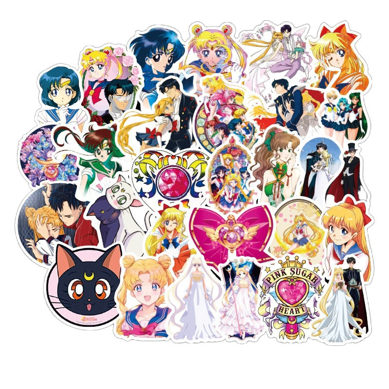 10/50/100pcs set Anime Sailor Moon Sticker Cartoon Waterproof Stickers For Laptop Suitcase Bicycle Toy Sticker For Kids stitch