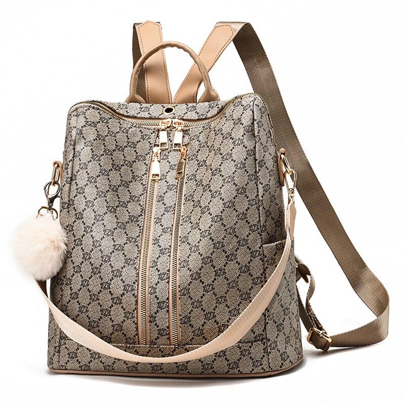 Vintage تصميم العلامة التجارية الفاخرة النساء على ظهره السياحية مشبك مكافحة سرقة حقيبة ظهر حقائب سعة كبيرة لفتاة هندسية الطباعة