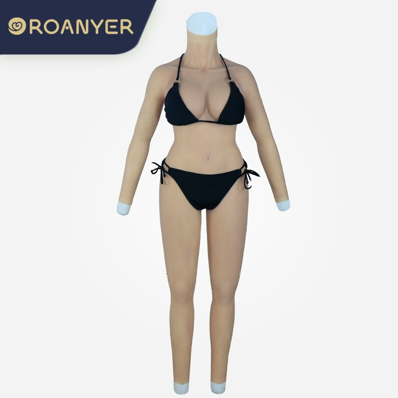 ROANYER سيليكون D كأس بدلة للجسم مع فتحة الشرج ل كروسدرسر الثدي أشكال واقعية المهبل وهمية الثدي الخنثى سحب الملكة