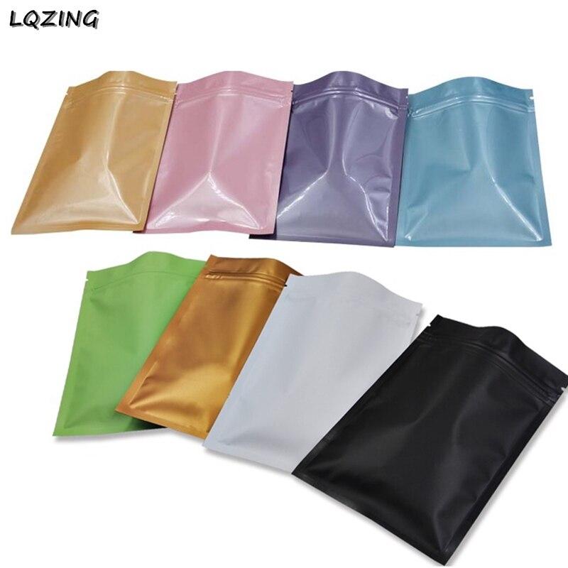 100pcs 8*12 centímetros Food Sacos de Armazenamento Metálico Mylar Ziplock Sacos de Fundo Plano Preto Fosco Folha De Alumínio Zip sacos de Plástico de bloqueio Bolsas