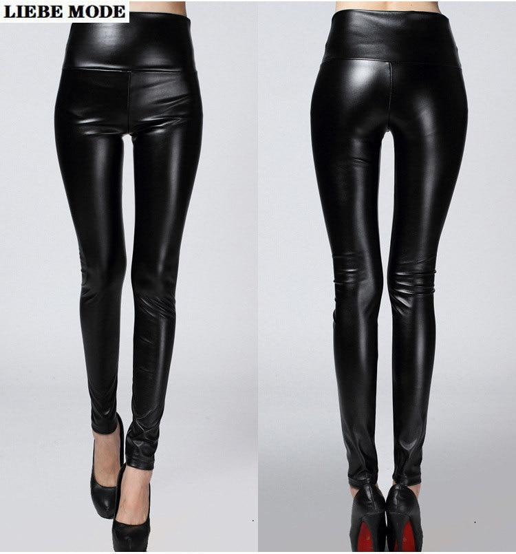 Womens Skinny Pants Black Red Soft Pu Leather Leggings Stretchy High Elastic Waist Women Plus Size Long Jegging Femme 4XL 5XL