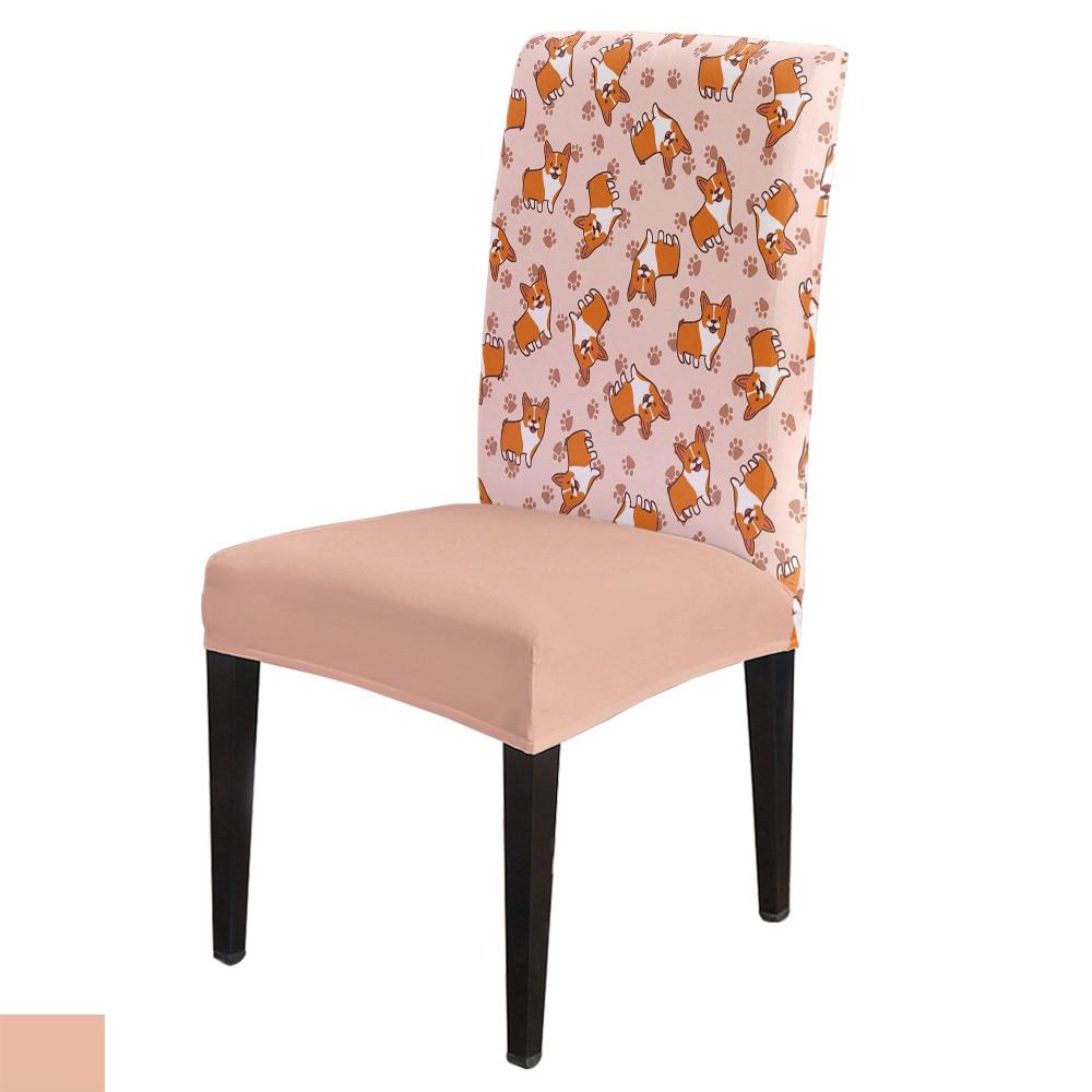 De dibujos animados Corgi mascota perro bonita silla de oficina de Spandex cubierta elástica para silla de Hotel Silla de comedor para bodas cubre