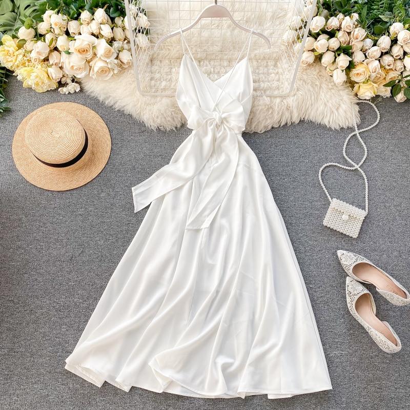 2020 Summer Seaside Vacation Dress Halter Strapless Waist Dress White Sexy Woman Summer Clothes