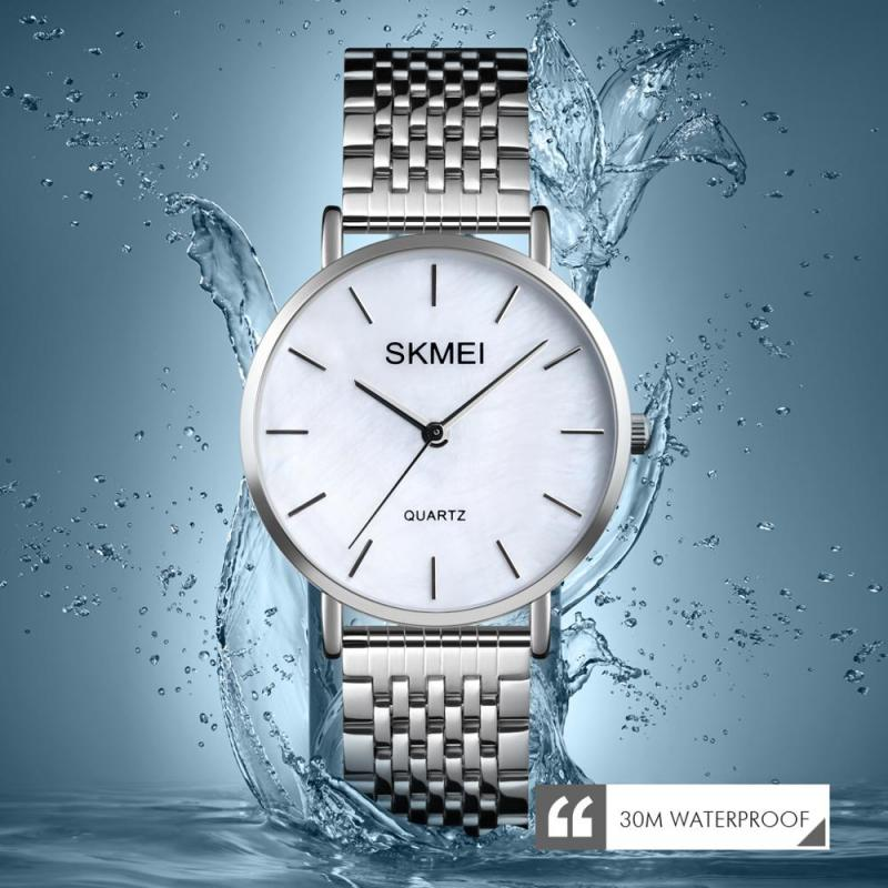 SKMEI Women Watches Fashion Style Elegant Quartz Watch 3Bar Waterproof Shell Dial Stainless Steel Female Clock Relogio Feminino enlarge