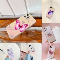 beauty butterfly phone case for iphone huawei p 7 8 9 11 12 10 30 40 s x xs xr mini pro max plus laser transparent glitter