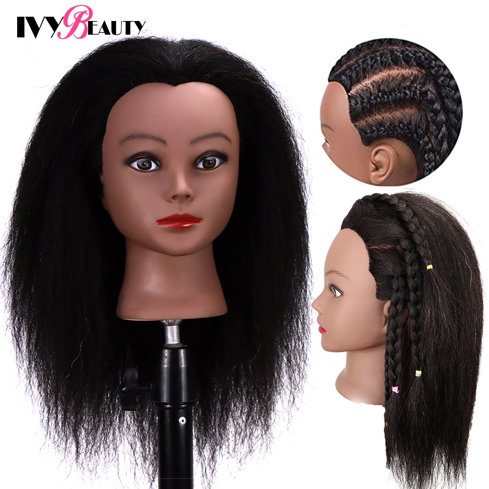 Female Mannequin Head With Hair For Braiding African Mannequin Practice Hairdressing Training Head Dummy Head For Cosmetology