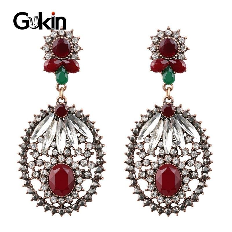 Gukin mulher brincos 2020 notícias de luxo índia jóias antigo ouro cor incomum cristal feminino brincos boho festa acessórios