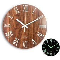 wooden round luminous wall clock art watch glow in the dark creative mute fluorescent clock for home decor living room