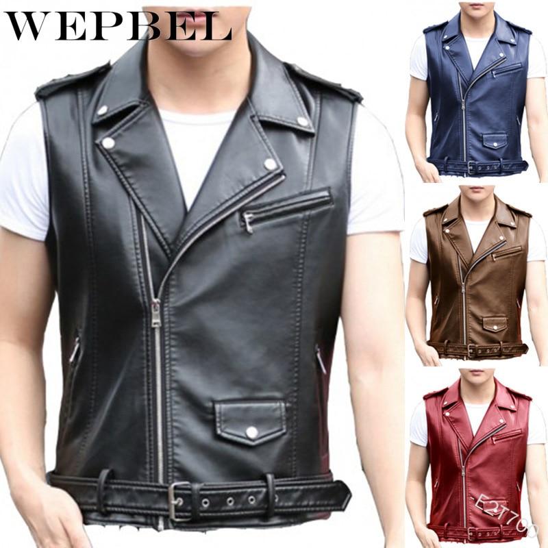 WEPBEL Vest Solid Color Leather Jacket Punk Motorcycle Jacket Diagonal Zipper Vest Coats 2020 Fashion Men Fitness Biker Jackets