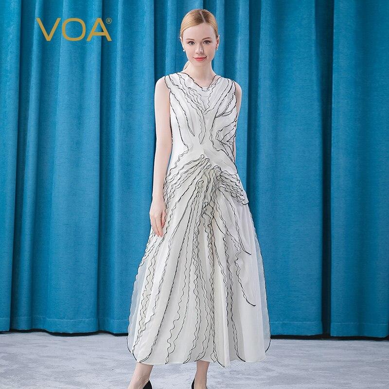 VOA 30m/m Silk White O-Neck A Maxi Dresses for Women AE561 Ogan Yarn Three-dimensional Vestido Summer Party Befree Dress 2021