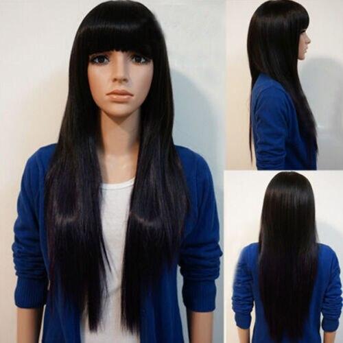 Mujeres largo negro recto Natural Remy Peluca de pelo con flequillo pelucas completas Decoración