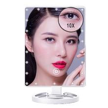 1X & 10X lupa 22 LEDs pantalla táctil maquillaje espejo Mesa encimera brillante 180 grados Cable USB ajustable o uso de baterías