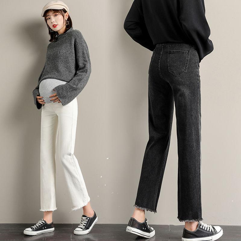 Брюки для беременных брюшные, широкие джинсы-бойфренды, Одежда для беременных женщин, брюки с высокой талией, свободные джинсы