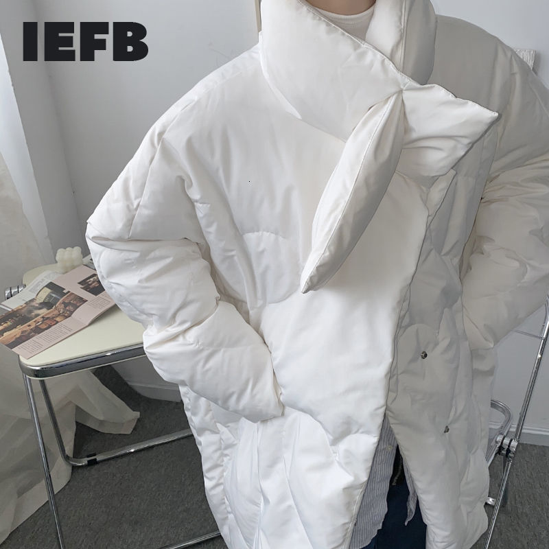 IEFB oversized black down jakcets for men 2020 winter warm high quality white duck down clothes for male scarf collar 9Y4658