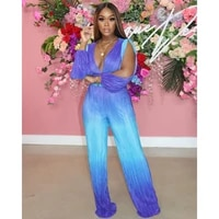 gradient purple printed wide leg pants outfits deep v neck batwing sleeve long sleeve hollow out top loose flared long trousers