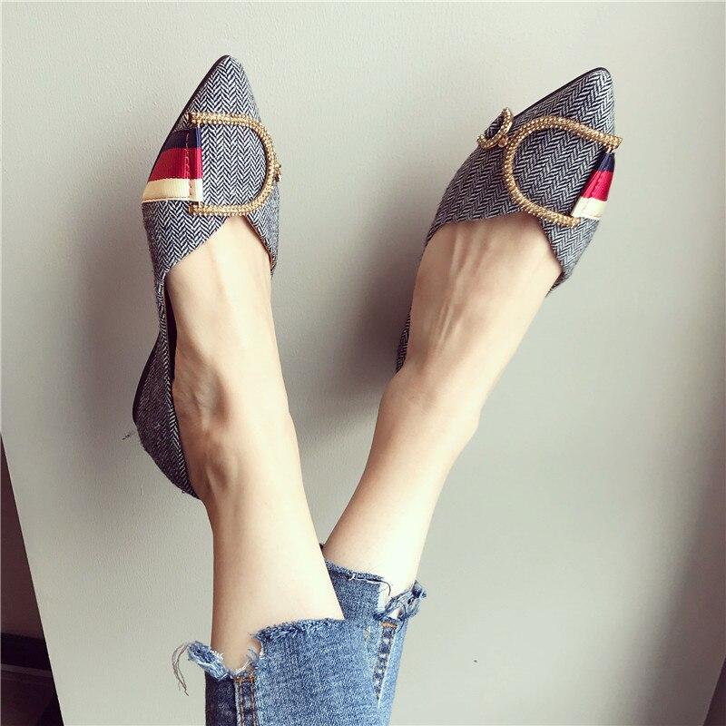 Dedo do pé Zapatos de Mujer Novas Senhoras Sapatos Planos Casuais Mulher Confortável Apontado Primavera Outono Marca Feminina Sapato 2021