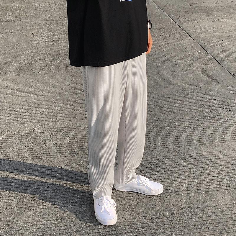 Pleated Straight Pants Men's Fashion Elastic Waist Casual Pants Men Streetwear Loose Ice Silk Trousers Mens Wide Leg Pants S-2XL