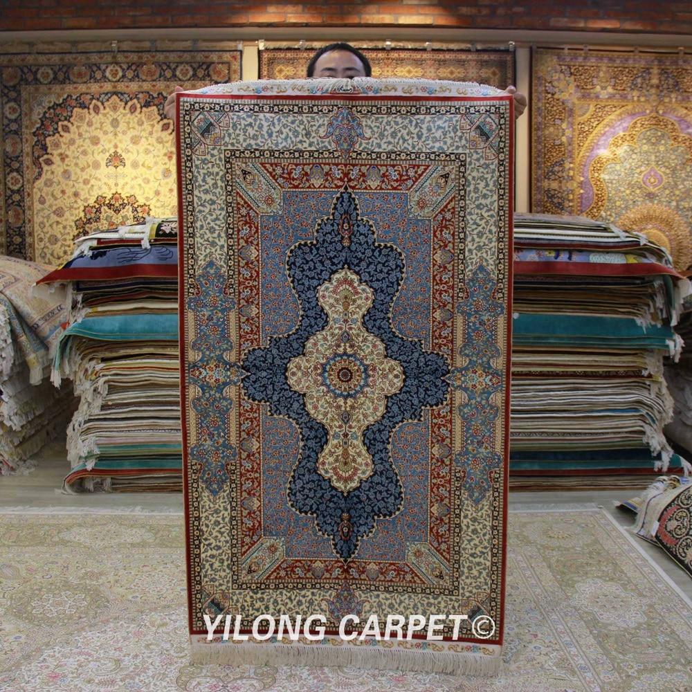 Yilong-سجادة فارسية مصنوعة يدويًا ، 3 × 5 بوصة ، حرير ، تركي ، شرقي ، زهري ، رائع (ZQG308A)