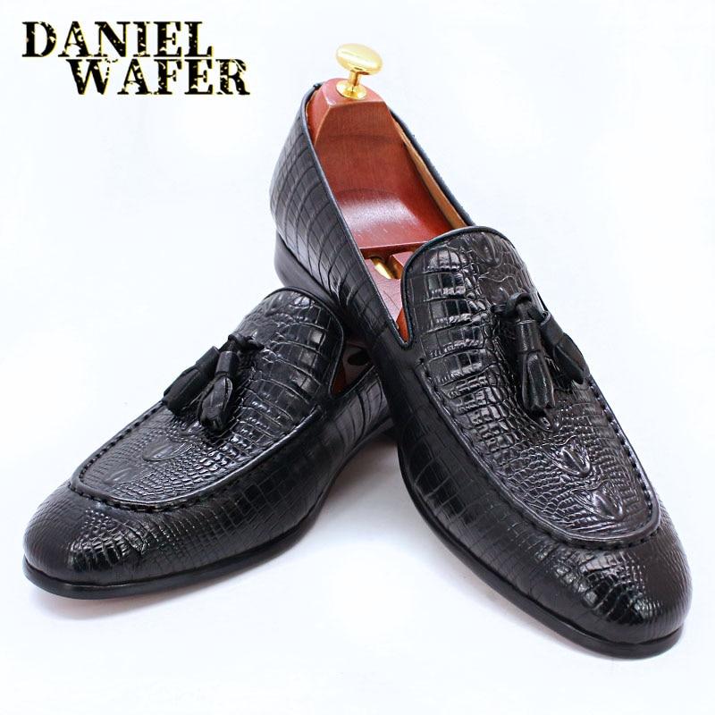 حذاء موكاسين جلدي للرجال ، حذاء كاجوال فاخر ، بدون أربطة ، بنمط جلد التمساح والقهوة