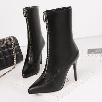 2019 moda sexy tacones altos puntiagudos stiletto era delgado en el tubo botas banquete frontal cremallera Delgado botas de mujer