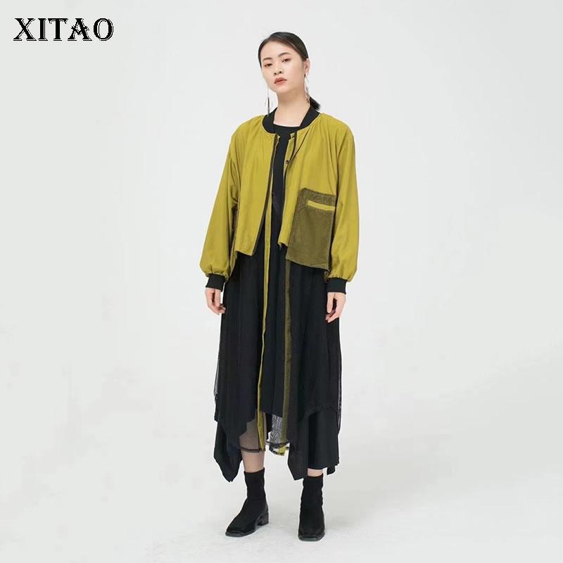 فستان XITAO شبكي منظور موضة جديدة للنساء مرقع بجيب مروحة آلهة 2021 فستان فضفاض غير رسمي نمط أقلية CLL1909