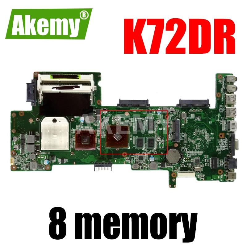 Akemy K72DR اللوحة ل Asus K72DR X72D K72DY K72DE A72D K72DR K72D اللوحة المحمول 8 الذاكرة PM اختبار العمل 100%