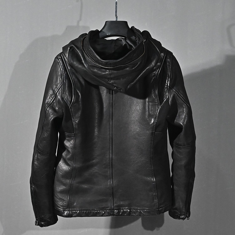2021 New Genuine Leather Jacket Men Clothes 100% Real Sheepskin Coat Vintage Motorcycle Jacket Man Hooded Slim Fit KJ