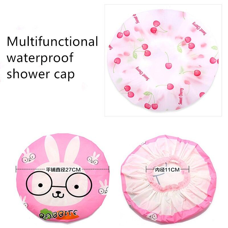Cartoon Animal Waterproof Shower Cap Waterproof for Women Shower Hair Bonnet Bath Hair Cap Resuable Lace Elastic Band Dropship enlarge