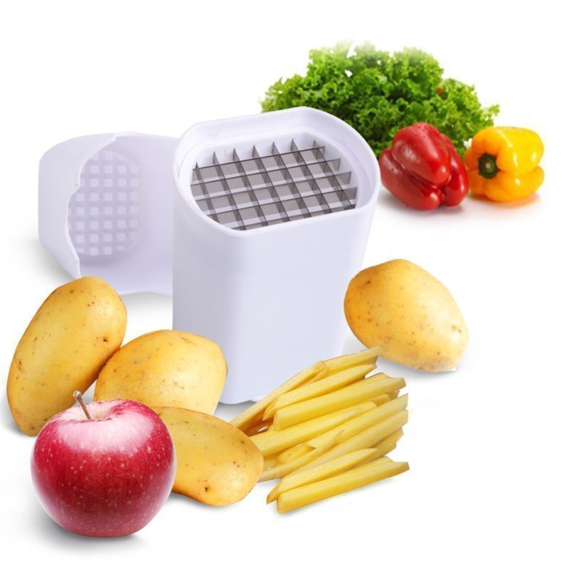 Cortador de patatas fritas de acero de un solo paso, cortador de verduras para fruta, cortador de patatas duradero, fácil de limpiar y sin distorsión