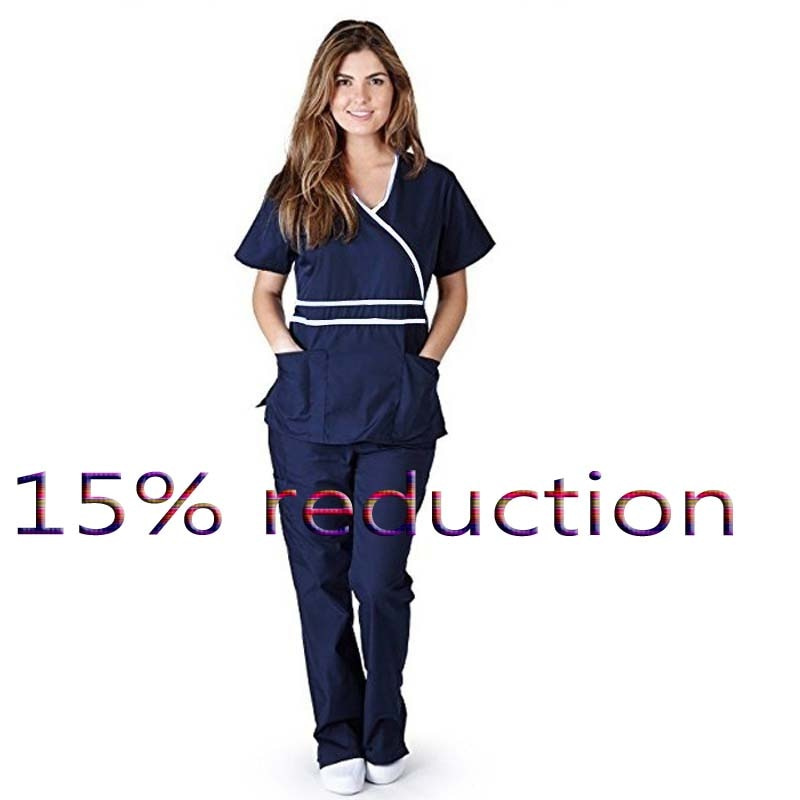 Women's Fashion Scrub Set Mock Wrap Top with Back Tie + Elastic Waistline Pants tie back button detail cami top with skirt
